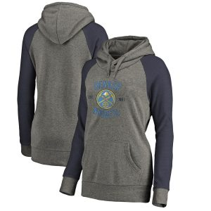 Denver Nuggets Fanatics Branded Women's Heritage Tri-Blend Raglan Plus Size Pullover Hoodie