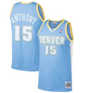 Men's Denver Nuggets Carmelo Anthony Mitchell & Ness Light Blue 2003-04 Hardwood Classics Swingman Jersey