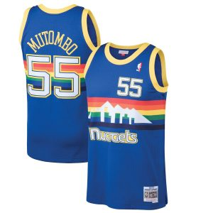 Men's Denver Nuggets Dikembe Mutombo Mitchell & Ness Blue 1991-92 Hardwood Classics Swingman Jersey