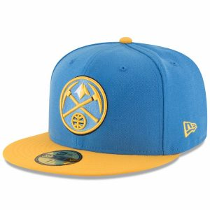 Men's Denver Nuggets New Era Light Blue/Yellow Official Team Color 2Tone 59FIFTY Fitted Hat