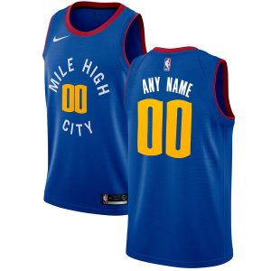 Men's Denver Nuggets Nike Blue Swingman Custom Jersey – Statement Edition