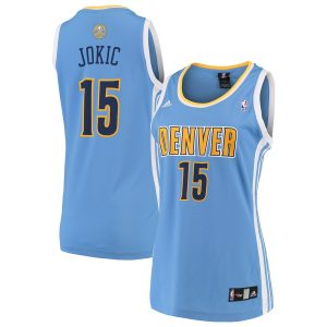 Women's Denver Nuggets Nikola Jokic adidas Light Blue Road Replica Jersey