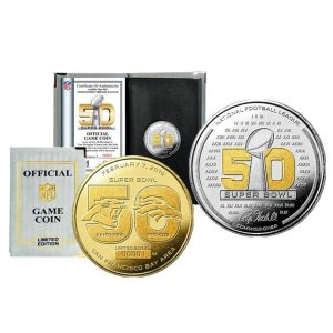 Carolina Panthers vs. Denver Broncos Highland Mint Super Bowl 50 Dueling Two-Tone Flip Coin