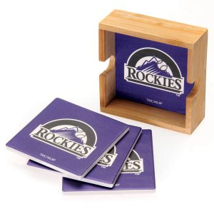 Colorado Rockies 4-Pack Square Coaster Set with Caddy