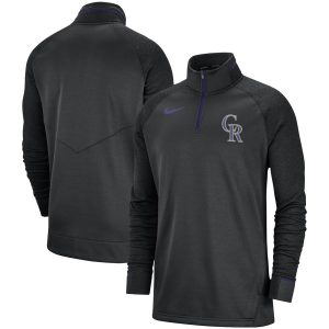 Colorado Rockies Nike Elite Game Performance Raglan Sleeve Quarter-Zip Pullover Jacket
