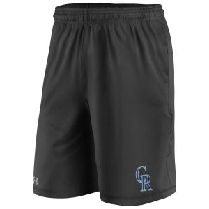 Colorado Rockies Under Armour Raid Left Leg Performance Shorts – Black