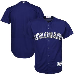 Colorado Rockies Youth Alternate Replica Blank Team Jersey – Purple