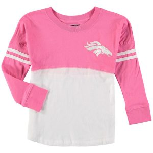 Denver Broncos 5th & Ocean by New Era Girls Youth Varsity Crew Long Sleeve T-Shirt – White/Pink