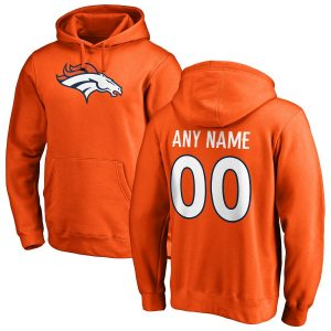 Denver Broncos NFL Pro Line Any Name & Number Logo Personalized Pullover Hoodie