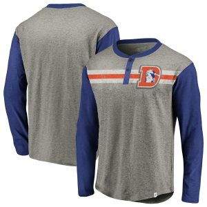 Denver Broncos NFL Pro Line by Fanatics Branded True Classics Henley Long Sleeve T-Shirt