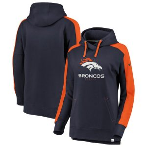 Denver Broncos NFL Pro Line Women's Iconic Color Block Pullover Hoodie