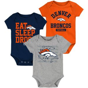 Denver Broncos Newborn & Infant Eat, Sleep, Drool Football Three-Piece Bodysuit Set – Orange/Navy