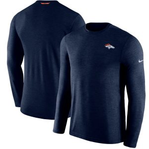 Denver Broncos Nike Sideline Coaches Primary Logo Long Sleeve Performance T-Shirt – Navy
