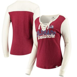 Fanatics Branded Colorado Avalanche Women's Burgundy/White True Classics Lace-Up Long Sleeve T-Shirt