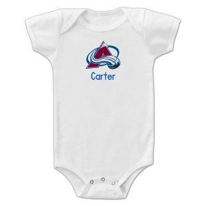 Infant Colorado Avalanche White Personalized Bodysuit