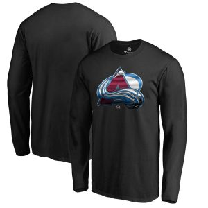 Men's Colorado Avalanche Fanatics Branded Black Midnight Mascot Long Sleeve T-Shirt
