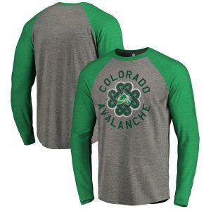 Men's Colorado Avalanche Fanatics Branded Heathered Gray St. Patrick's Day Luck Tradition Raglan Tri-Blend Long Sleeve T-Shirt