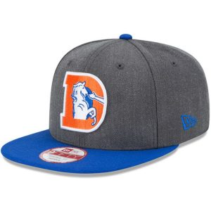 Men's Denver Broncos New Era Heathered Charcoal/Royal Historic 9FIFTY Adjustable Snapback Hat