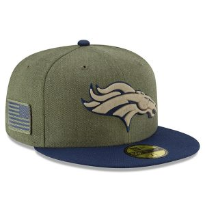 Men's Denver Broncos New Era Olive/Navy 2018 Salute to Service Sideline 59FIFTY Fitted Hat