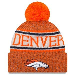 Men's Denver Broncos New Era Orange 2018 NFL Sideline Cold Weather Official Sport Knit Hat