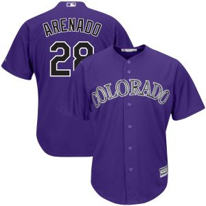Nolan Arenado Colorado Rockies Majestic Alternate Official Cool Base Player Jersey – Purple