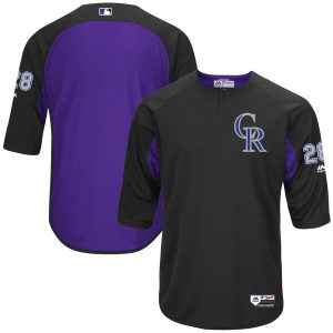 Nolan Arenado Colorado Rockies Majestic Authentic Collection On-Field 3/4-Sleeve Player Batting Practice Jersey