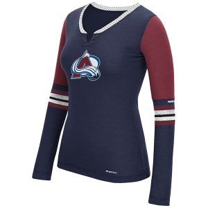 Reebok Colorado Avalanche Women's Navy Long Sleeve Hockey Top Henley PlayDry T-Shirt