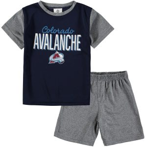 Toddler Colorado Avalanche Fanatics Branded Navy/Heathered Gray Nostalgia Poly Two-Piece T-Shirt & Shorts Set