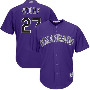 Trevor Story Colorado Rockies Majestic Alternate Official Cool Base Player Jersey – Purple