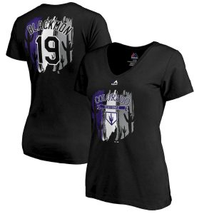 Women's Colorado Rockies Charlie Blackmon Majestic Black 2019 Spring Training Name & Number V-Neck T-Shirt