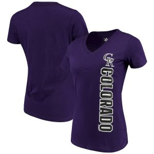 Women's Colorado Rockies G-III 4Her by Carl Banks Purple Asterisk V-Neck T-Shirt