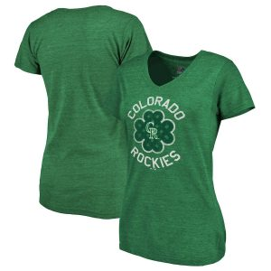 Women's Colorado Rockies Majestic Green Luck Tradition Tri-Blend V-Neck T-Shirt