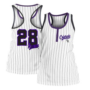 Women's Colorado Rockies Nolan Arenado 5th & Ocean by New Era White Pinstripe Player Tank Top