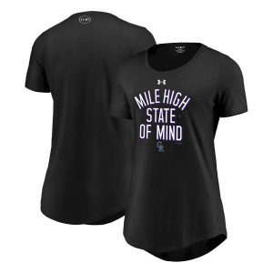 Women's Colorado Rockies Under Armour Black Passion State of Mind Performance Tri-Blend T-Shirt