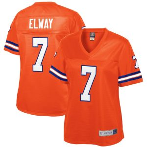 Women's Denver Broncos John Elway NFL Pro Line Orange Retired Player Jersey