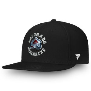 Youth Colorado Avalanche Fanatics Branded Black Emblem Snapback Adjustable Hat