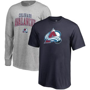 Youth Colorado Avalanche Fanatics Branded Navy/Gray T-Shirt Combo Set