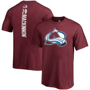 Youth Colorado Avalanche Nathan MacKinnon Fanatics Branded Burgundy Backer Name & Number T-Shirt