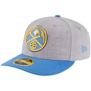 Men's Denver Nuggets New Era Heathered Gray/Light Blue Two-Tone Low Profile 59FIFTY Fitted Hat