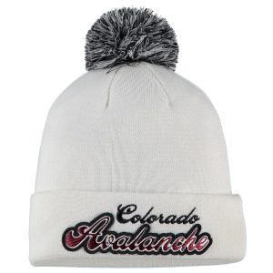 Women's Colorado Avalanche Fanatics Branded White Team Dazzle Cuffed Knit Hat with Pom