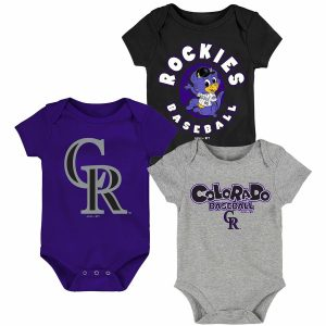 Colorado Rockies Newborn & Infant Everyday Fan Three-Pack Bodysuit Set – Black/Purple/Gray