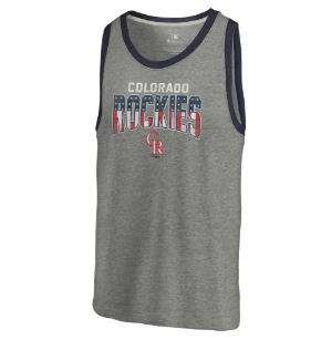 Colorado Rockies Fanatics Branded Freedom Tri-Blend Tank Top – Heathered Gray
