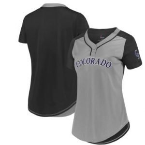 Colorado Rockies Majestic Women's League Diva Cool Base Mesh T-Shirt – Gray/Black