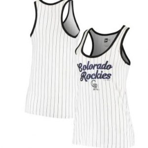 Colorado Rockies New Era Women's Pinstripe Jersey Tank Top – White/Black