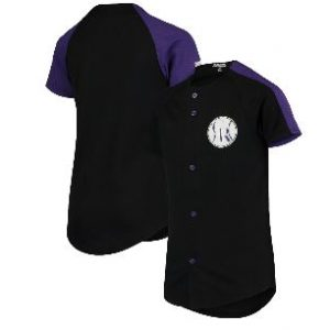 Colorado Rockies Stitches Youth Logo Button-Down Jersey – Black