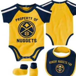 Newborn & Infant Denver Nuggets Navy/Gold Rebound Bodysuit, Bib & Booties Set