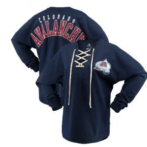 Women's Colorado Avalanche Fanatics Branded Navy Lace Up Long Sleeve Spirit T-Shirt