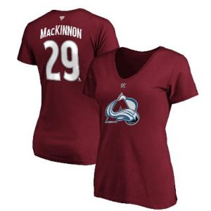 Women's Colorado Avalanche Nathan MacKinnon Fanatics Branded Burgundy Team Authentic Stack Name & Number V-Neck T-Shirt