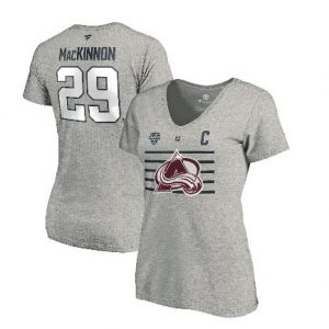 Women's Colorado Avalanche Nathan MacKinnon Fanatics Branded Steel 2020 NHL All-Star Game Name & Number V-Neck T-Shirt