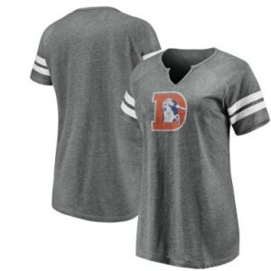 Women's Denver Broncos NFL Pro Line by Fanatics Branded Gray/White Distressed Tri-Blend Notch Neck T-Shirt